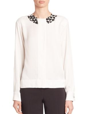 Embellished Long-Sleeve Blouse by Piazza Sempione