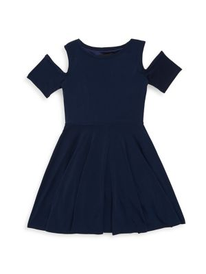 Girls Solid Pleated Dress