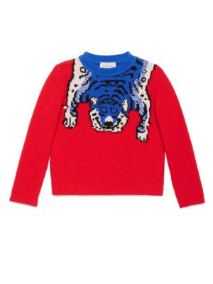 Image of Sweater with intarsia tiger and tiger stripes detail. Ribbed crewneck. Long sleeves with ribbed cuffs. Ribbed hem. Pullover style. Merino wool. Dry clean. Made in Italy.