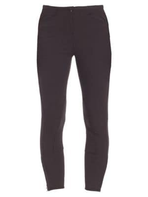 "Image of Ankle-length pants in a sleek silhouette. Banded waist. Zip fly with hook-and-eye closure. Side slash pockets. Zip detail at hem. Rise, about 10"".Inseam, about 25"".Cotton/modal/elastane. Dry clean. Imported. Model shown is 5'10"" (177cm) wearing US size 4."