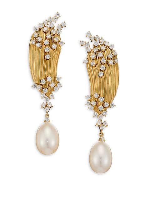 Plisse Diamond, Pearl & 18K Yellow Gold Drop Earrings