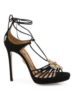 AQUAZZURA Suedes Empress Embellished Suede Lace-Up Sandals