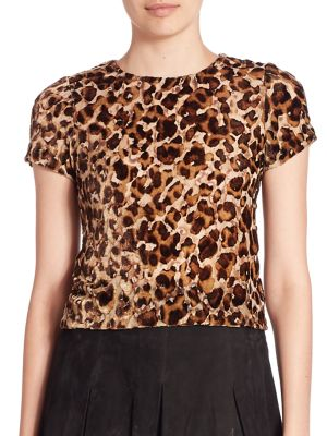 Deandrea Loose-Fit SIlk Falle Top by Alice + Olivia