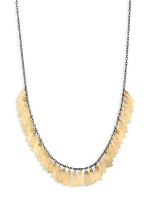 Feathers Sterling Silver & 18K Yellow Gold Necklace, Silver-Gold
