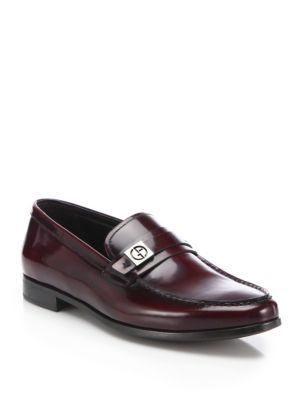 Giorgio Armani Spazzolato Side Bit Leather Loafers