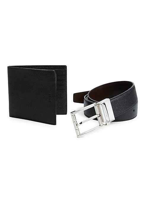 "Image of A sleek, textured belt and wallet in rich leather form this handsome gift essential. Two billfold compartments. Eight card slots. Wallet: 4""W X 4""H.Belt: 1.5"" wide. Leather. Made in Italy."
