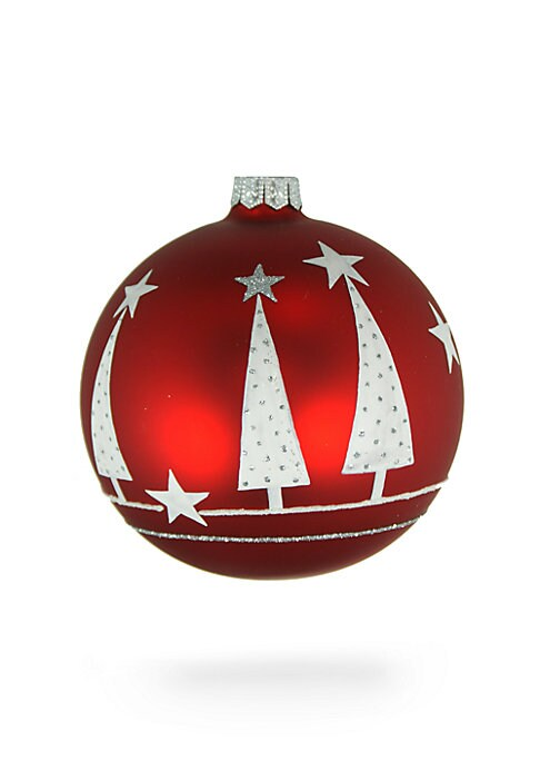 "Image of Harking on the true Christmas spirit, this mouth-blown glass decoration features bejeweled pine trees and star details to add the necessary festive cheer to your home. Handmade/hand-painted. Diameter, 4"".Glass. Spot clean. Imported."