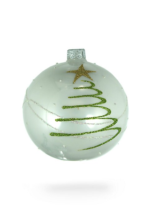 "Image of Stars and bejeweled details add a festive charm to this mouth-blown glass decoration that will hang pretty in your home to spread the holiday cheer. Handmade/hand-painted. Diameter, 4"".Glass. Spot clean. Imported."