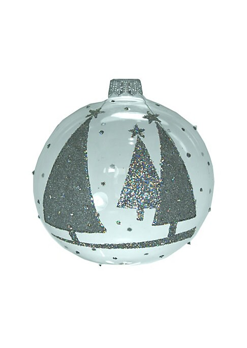 "Image of Glass ball ornament features glittering tree design. Diameter, 3.93"".Glass. Spot clean. Imported."