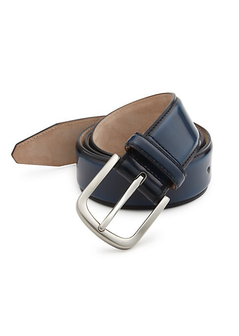 """Image of EXCLUSIVELY OURS. Rich Italian leather accessory with burnished accents.1.5"""" wide. Leather. Made in Italy."""