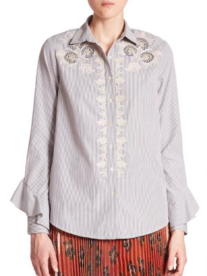 Embroidered Button-Front Shirt by SUNO