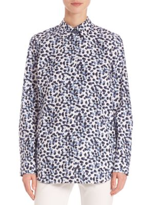 Dotted Button-Front Shirt by Lafayette 148 New York