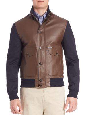 FAÇONNABLE Ribbed Hybrid Blouson Jacket in Derby