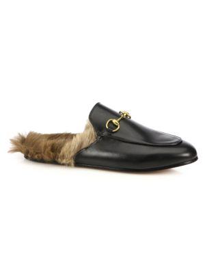 Image of Princetown Fur-Lined Leather Loafer Slides