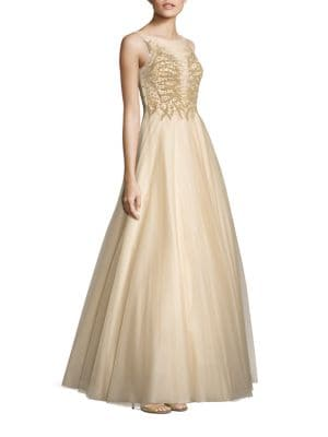 Embellished Illusion Ball Gown