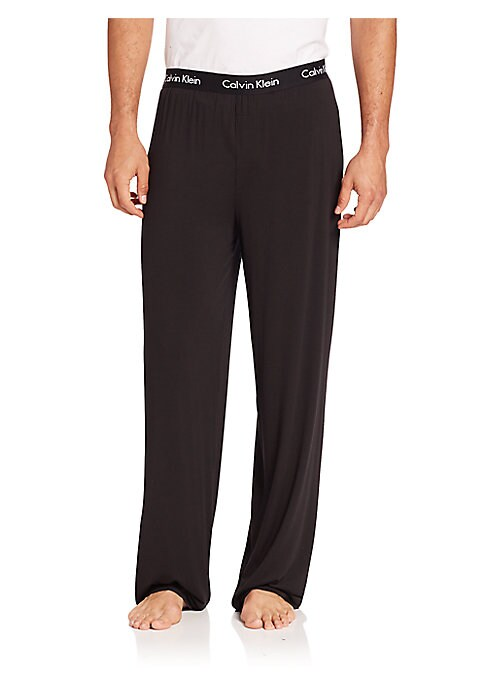 """Image of Comfortable lounge pants with logo-detailed waistband. Elasticized logo waist. Faux fly. Pull-on style. Modal/l/lycra/elastane. Machine wash. Imported. SIZE & FIT. Inseam, about 34""""."""