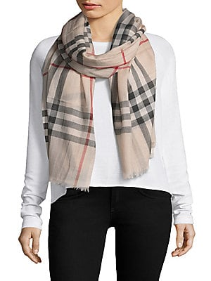 Burberry - Gauze Giant Check Wool  amp  Silk Scarf 3aabbd532d