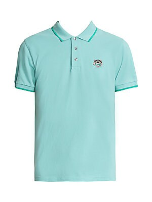 "Image of Classic polo elevated with tonal tipping and iconic tiger embroidery. Polo collar Short sleeves Three-button placket Cotton Machine wash Made in Portugal SIZE & FIT Semi-fitted About 29"" from shoulder to hem. Men Adv Contemp - Men's Emerging Designer > Sa"