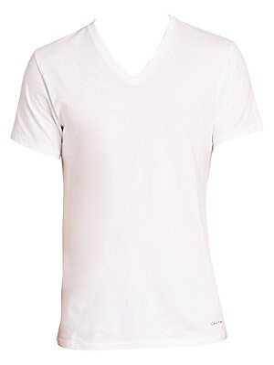 Image of Classic-fit tees crafted from smooth cotton. Set of three V-neck Short sleeves Cotton Machine wash Imported SIZE & FIT Classic fit. Men Accessories - Underwear > Saks Fifth Avenue. Calvin Klein Underwear. Color: White. Size: L.