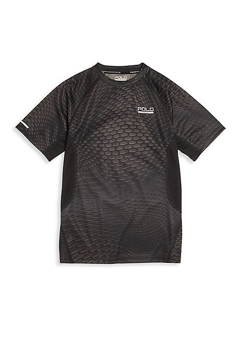 Image of Featuring Polo Sport's cutting-edge ThermoVent technology that wicks moisture away, this hexagon-print micro-dot jersey tee is a cool style he'll love to wear. Banded crewneck. Short sleeves. Logo detail at left chest. Pullover style. Polyester. Machine w