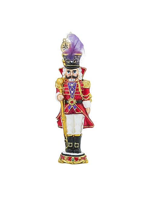 "Image of .Glass ornament in nutcracker holiday-inspired design.7""H.Glass. Spot clean. Imported."