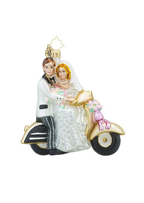 "Image of .Glass ornament in wedding couple motorcyling design.4.5""H.Glass. Spot clean. Imported."