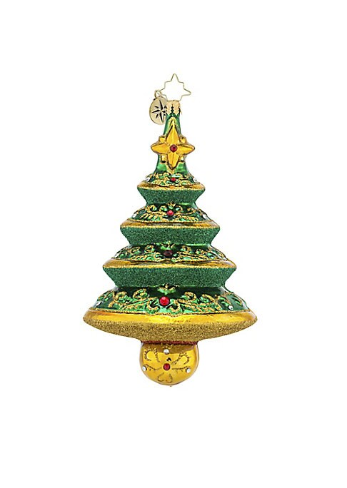 """Image of .Glass ornament in wood burst holiday-inspired design.5.5""""H.Glass. Spot clean. Imported."""