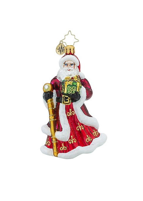 "Image of .Glass ornament featuring Saint Nicholas design.4.5""H.Glass. Spot clean. Imported."