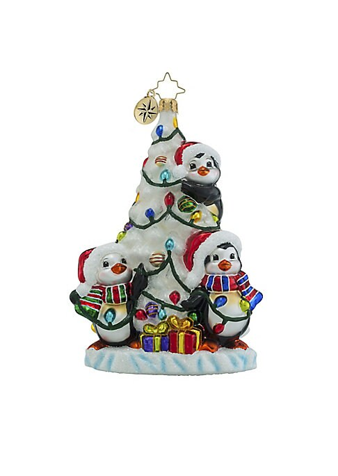 "Image of .Glass ornament in penguin holiday-inspired design.6""H.Glass. Spot clean. Imported."