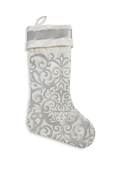 """Image of Add a sparkling accent to your home decor with this Christmas stocking which is decorated with intricate embroidery. Diameter, about 56"""".Rayon/velvet. Dry clean. Imported."""
