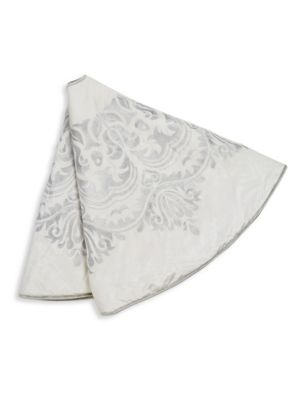 """Image of Delicate floral embroidery and contrasting trim lend a gorgeous touch to this elegant Christmas decoration.8"""" X 22"""".Rayon/velvet. Dry clean. Imported."""