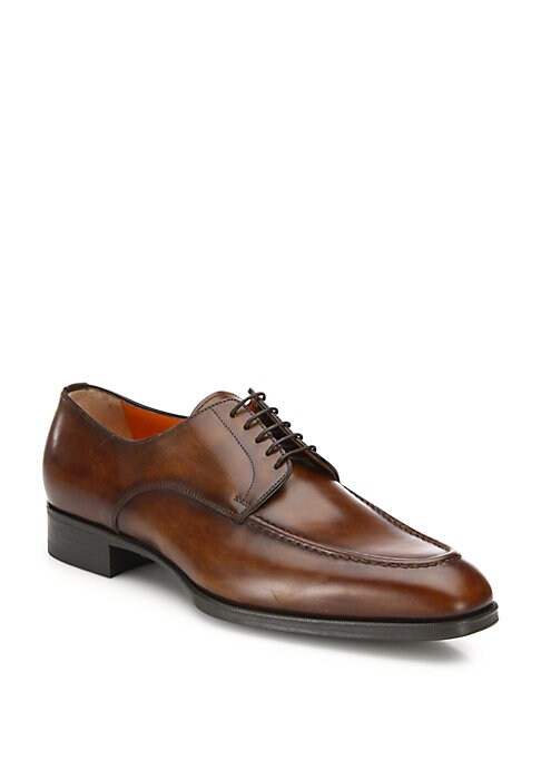 Image of Cozy pure Italian leather shoes in lace-up style. Apron toe. Leather upper. Lace-up style. Leather lining. Rubber sole. Made in Italy.