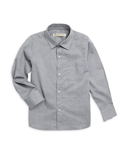 Little Boy's & Boy's Pindot Casual Cotton Button-Down Shirt