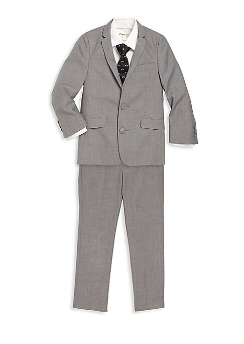 Image of Classic suit jacket and slim-fit pants make a handsome pairing for formal affairs. Polyester/rayon. Machine wash. Imported. Blazer. Notched lapels. Long sleeves with button cuffs. Front button closures. Chest mock welt pocket. Waist mock flap pockets. Ins