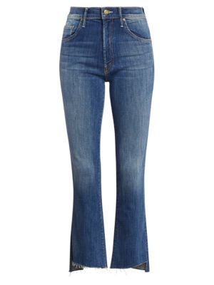 Mother Insider High Rise Frayed Hem Cropped Jeans