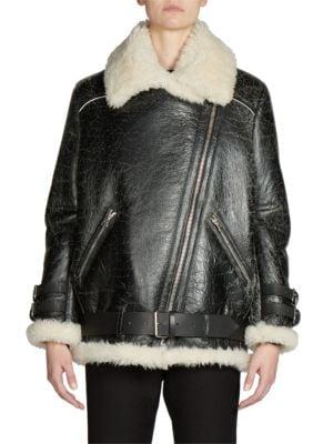 Shearling & Leather Oversized Vintage Moto Jacket plus size,  plus size fashion plus size appare