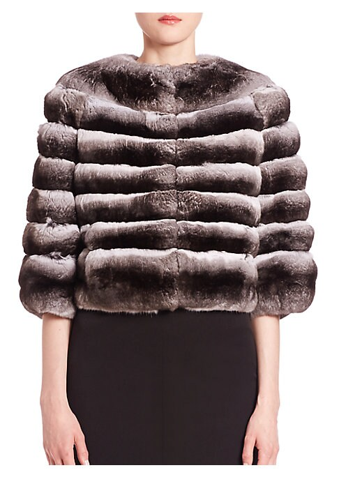 "Image of EXCLUSIVELY AT SAKS FIFTH AVENUE. Evening-ready staple in lavish chinchilla fur. Roundneck. Three-quarter sleeves. Concealed front hook-and-eye closure. Silk lining. About 19"" from shoulder to hem. Fur type: Chinchilla with brightener added. Fur origin: A"