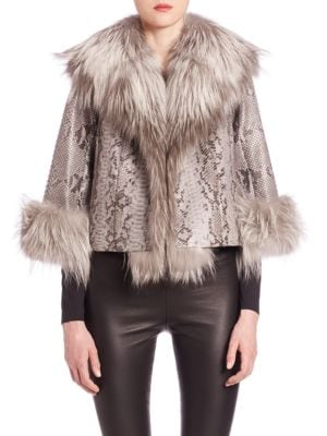 Python And Fox Fur Jacket, Grey/Silver