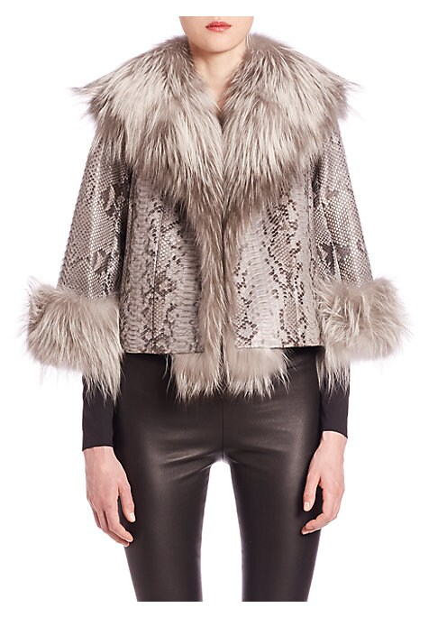 "Image of EXCLUSIVELY AT SAKS FIFTH AVENUE. Plush fox fur styles exotic skin pattern jacket. Fur shawl collar, placket and cuffs. Three-quarter sleeves. Concealed front hook-and-eye closure. Lined. About 22"" from shoulder to hem. Python. Fur type: Dyed fox. Fur ori"