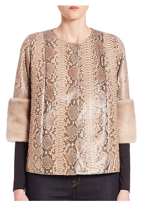 """Image of EXCLUSIVELY AT SAKS FIFTH AVENUE. Plush mink cuffs style python jacket. Roundneck. Three-quarter sleeves. Fur cuffs. Concealed snap front closure. Lined. About 24"""" from shoulder to hem. Python. Fur type: Dyed mink. Fur origin: Denmark. Dry clean by fur sp"""