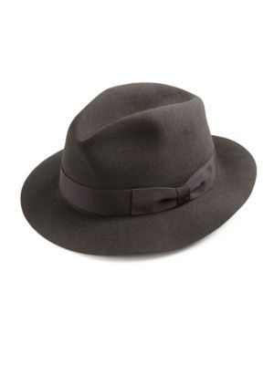 "Image of Bold hue staple with ribbon trim for a timeless style. Brim, 2"".Felt. Spot clean. Made in Italy."