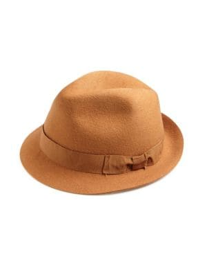 "Image of Classical wool panama hat with matching bow tie belt. Brim, about 2"".Wool. Made in Italy."