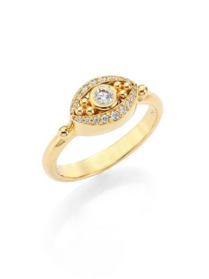 Temple St. Clair  Mini Evil Eye Diamond & 18K Yellow Gold Ring