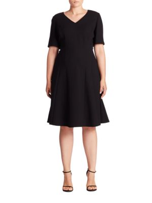 Buy Lafayette 148 New York, Plus Size Solid V-Neck Wool Dress online with Australia wide shipping