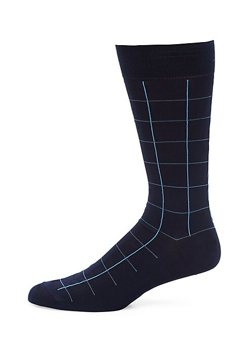 "Image of Windowpane pattern lends these socks a classic look. Length about, 19"".Cotton lisle/nylon. Machine wash. Made in UK."