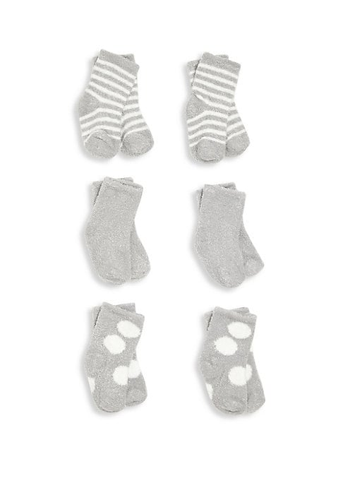 Image of Keep the little feet warm and toasty in this six-pair cozy socks set in classic dolce solid, stripes and dot pattern. Nylon/polyester/spandex. Machine wash. Imported. Includes Little Giraffe gift box.