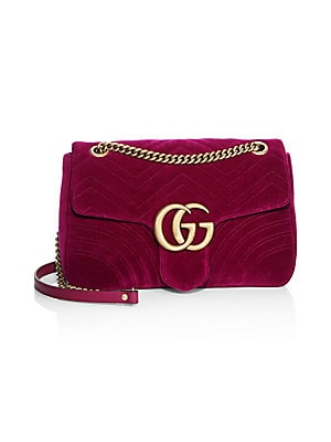 3ab9bdaa4c1 Gucci - Medium GG Marmont Velvet Shoulder Bag