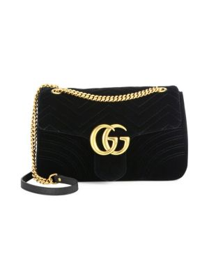Gucci Medium Gg Marmont 2.0 Matelasse Velvet Shoulder Bag - Black