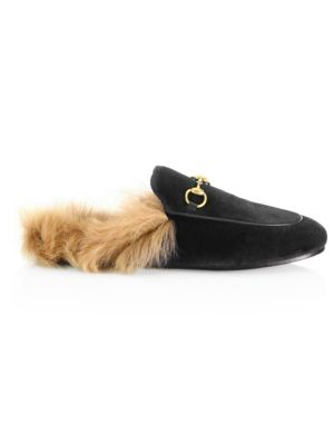 a3cb4ecc4 Gucci Princetown Fur-Lined Velvet Slipper. Leather ...