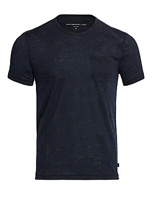 Image of A comfortable essential in stylish burnout pattern Crewneck Short sleeves Chest patch pocket Pullover style Polyester/cotton Machine wash Imported. Men Adv Contemp - Contemporary Tops. John Varvatos Star U.S.A. Color: Blue Heather. Size: S.
